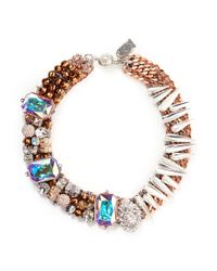 Assad Mounser | Metallic 'drago' Crystal Pavé Bead Spike Collar Necklace | Lyst