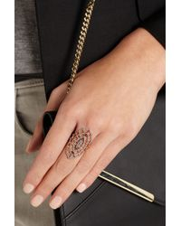 Diane Kordas - Metallic Spider Web 18karat Rose Gold Rhodiumplated Diamond Ring - Lyst