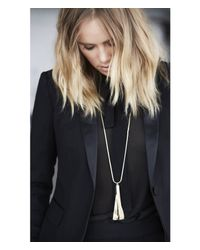 Express - Metallic Edition Metal Tassel Pendant Necklace - Lyst