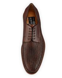 A.Testoni - Brown Woven Kangaroo Derby Shoe for Men - Lyst