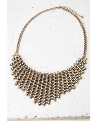 Forever 21 | Metallic Basket Weave Bib Necklace | Lyst