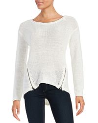 Lord & Taylor | White Hi-lo Zip Sweater | Lyst