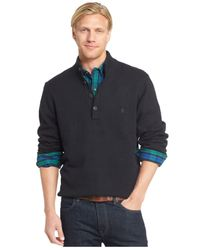 Izod | Black Button-up Mock Neck Pullover for Men | Lyst