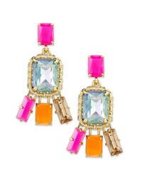 kate spade new york - Metallic New York Goldtone Neon Stone Drop Earrings - Lyst