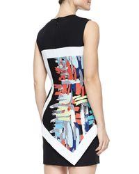 BCBGMAXAZRIA - Black Alessandra Printed Layered Fitted Dress - Lyst
