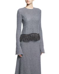 Derek Lam - Blue Long-sleeve Crochet Top W/fringe Hem - Lyst