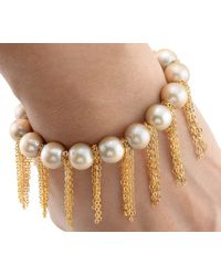Anne Sisteron | Metallic Champagne Pearl Bracelet With Yellow Gold | Lyst