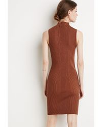Forever 21 | Brown Contemporary Ribbed Knit Bodycon Dress | Lyst