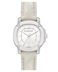Burberry - White Check Stamped Leather Strap Watch - Lyst
