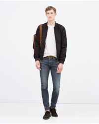 Zara | Blue Mixed Fabric Jacket for Men | Lyst