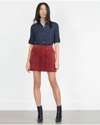 Zara | Blue Polka Dot Shirt | Lyst