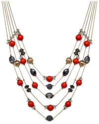 INC International Concepts | Pink Gold-tone Mixed Red Bead Five-row Illusion Necklace | Lyst