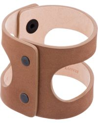 Lanvin - Natural Khaki Leather Cut Out Cuff for Men - Lyst