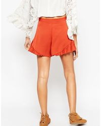 ASOS - Orange Going Out Woven Shorts With Frill Hem - Lyst
