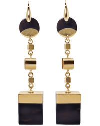 Isabel Marant - Black Brass And Buffalo Horn Wedge Earrings - Lyst