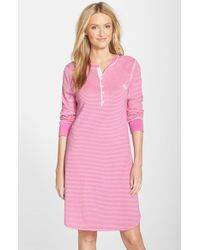 Lauren by Ralph Lauren | Pink Henley Sleep Shirt | Lyst