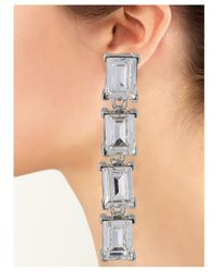 Kenneth Jay Lane | Metallic Crystal Rectangle Stones Clip Earring | Lyst