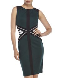 Ivanka Trump | Green Color Block Knit Sheath Dress | Lyst