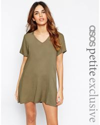 ASOS - Natural V Neck Dress With T Shirt Sleeve - Lyst