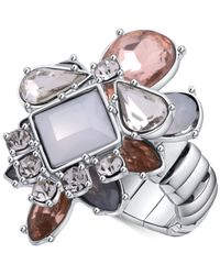 Guess | Metallic Silver-tone Multi-crystal Stretch Ring | Lyst
