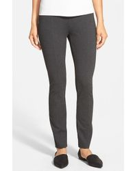 Eileen Fisher - Gray Skinny Knit Pants With Yoke Detail - Lyst