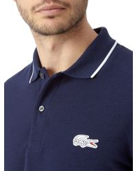 Lacoste - Blue Tipped Collar Polo Shirt for Men - Lyst