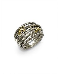 David Yurman | Metallic Double X Crossover Ring | Lyst