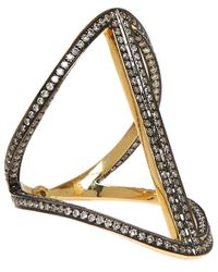 Noor Fares | Metallic Gold-plated Sapphire Rhombus Ring | Lyst