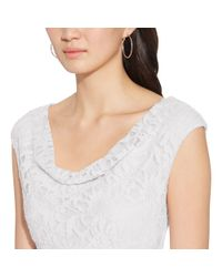 Ralph Lauren - White Ruched Cowlneck Dress - Lyst