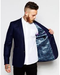 Ted Baker - Blue Wool Blazer In Slim Fit for Men - Lyst