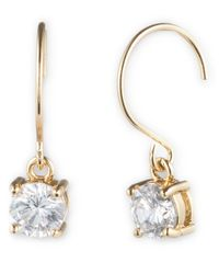 Anne Klein | Metallic Goldtone And Round Cubic Zirconia Drop Earrings | Lyst