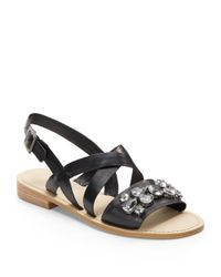 BCBGeneration | Black Remmy Leather Slingback Sandals | Lyst