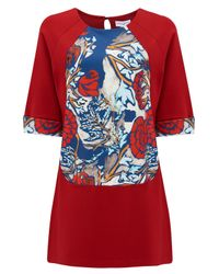 Almost Famous - Red Oriental Floral Panel Tunic - Lyst