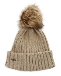 Calvin Klein | Natural Ribbed Knit Faux-fur Pompom Beanie | Lyst