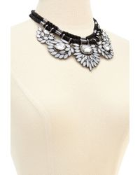 Forever 21 - White Bejeweled Flower Statement Necklace - Lyst