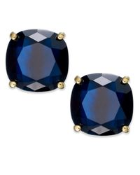 kate spade new york - Blue Gold-Tone Navy Stone Square Stud Earrings - Lyst