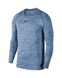 Nike Blue Pro Long-sleeve Fitted Heather Top for men