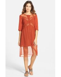 Volcom | Red 'Highway Child' Shirtdress | Lyst