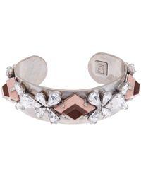 DANNIJO - Pink Oxidised Silver Crystal Nellie Ii Cuff Bracelet - Lyst