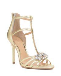 Badgley Mischka   Hazel-ii Metallic T-strap Evening Shoe   Lyst