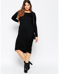 ASOS - Black Midi Jumper Dress - Lyst