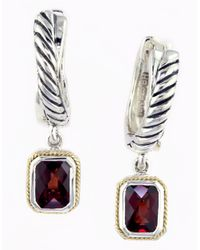 Lord & Taylor - Metallic Garnet, Sterling Silver And 18k Yellow Gold Drop Earrings - Lyst