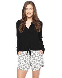 Splendid - Black Long Sleeve Shirt With Tie - Lyst