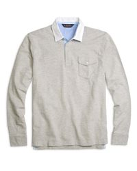 Brooks Brothers - Gray Cotton And Linen Rugby for Men - Lyst