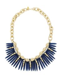 Kenneth Jay Lane - Metallic Gold Plated Turquoise and Crystal Necklace - Lyst