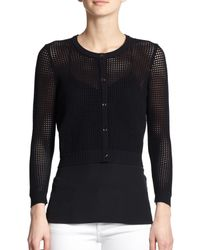 MILLY | Black Cropped Perforated Cardigan | Lyst