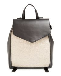 Loeffler Randall - Black 'mini' Shearling & Leather Backpack - Lyst