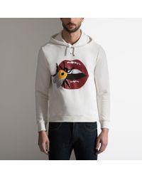 Bally - Multicolor Lip Print Hooded Sweatshirt In Cream Cotton Fleece for Men - Lyst