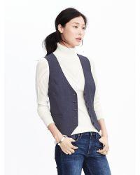 Banana Republic | Blue Buttoned Navy Lightweight Wool Vest | Lyst