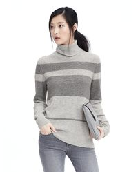Banana Republic | Gray Italian Cashmere Blend Striped Turtleneck Sweater | Lyst